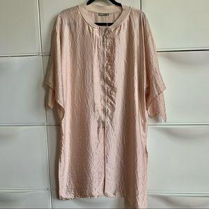 NWT Zara Light Blush Zipped blouse/ Coat. Size L